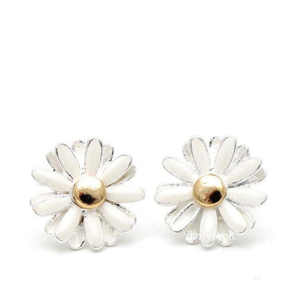 media in bridesmaid gift everyday silver wedding daisy earrings drop flower