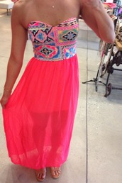 dress,maxi,tribal pattern,sheer,aztec,pink,bright,long,strapless,mesh