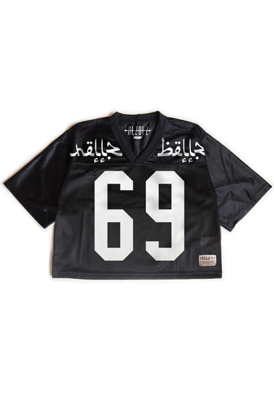 Hlzblz varsity black crop top jersey