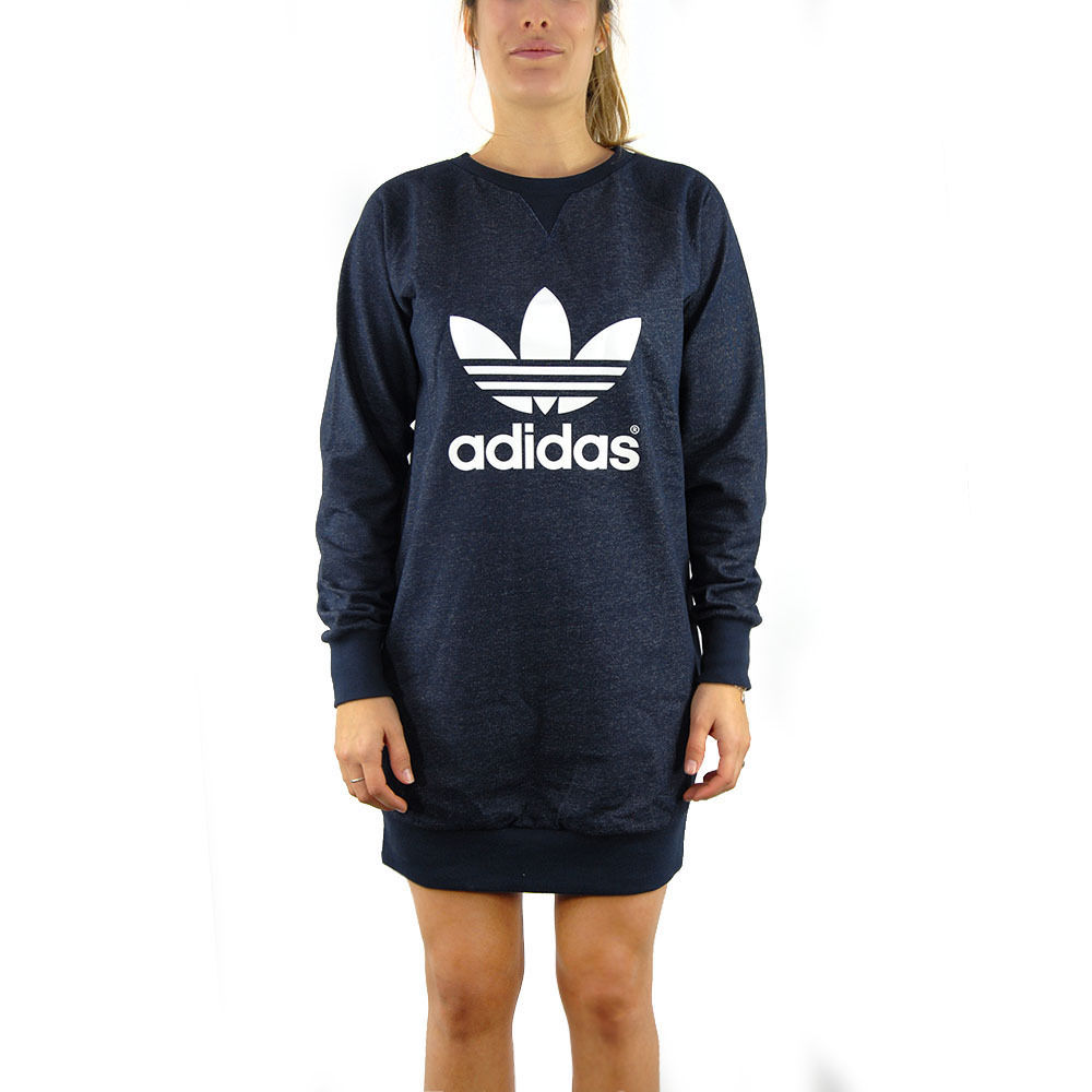 0872e2badad1 Adidas Sweat Dress Legend Ink Women's Long Sleeve Sweatshirt Dress NEW!