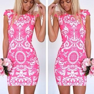 dress dress pink white dress party dress barock and roll pink sexy dress mini dress
