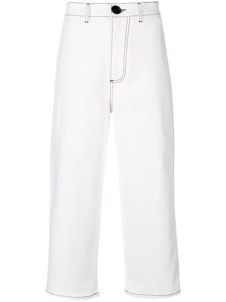 MARNI denim high waisted high women spandex white cotton pants
