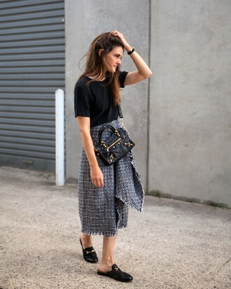 inspiring wit blogger skirt t-shirt shoes jewels bag loafers midi skirt summer outfits