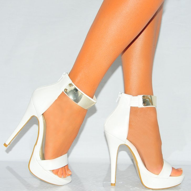 White Pu Leather Gold Metal Ankle Cuff High Heel Stilettos
