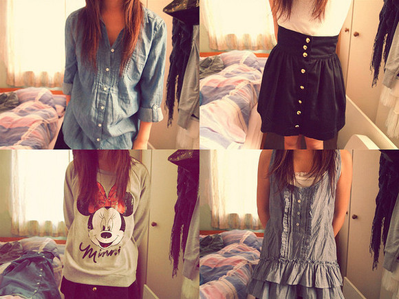 button up denim sweater skirt high waisted skirt minnie mouse