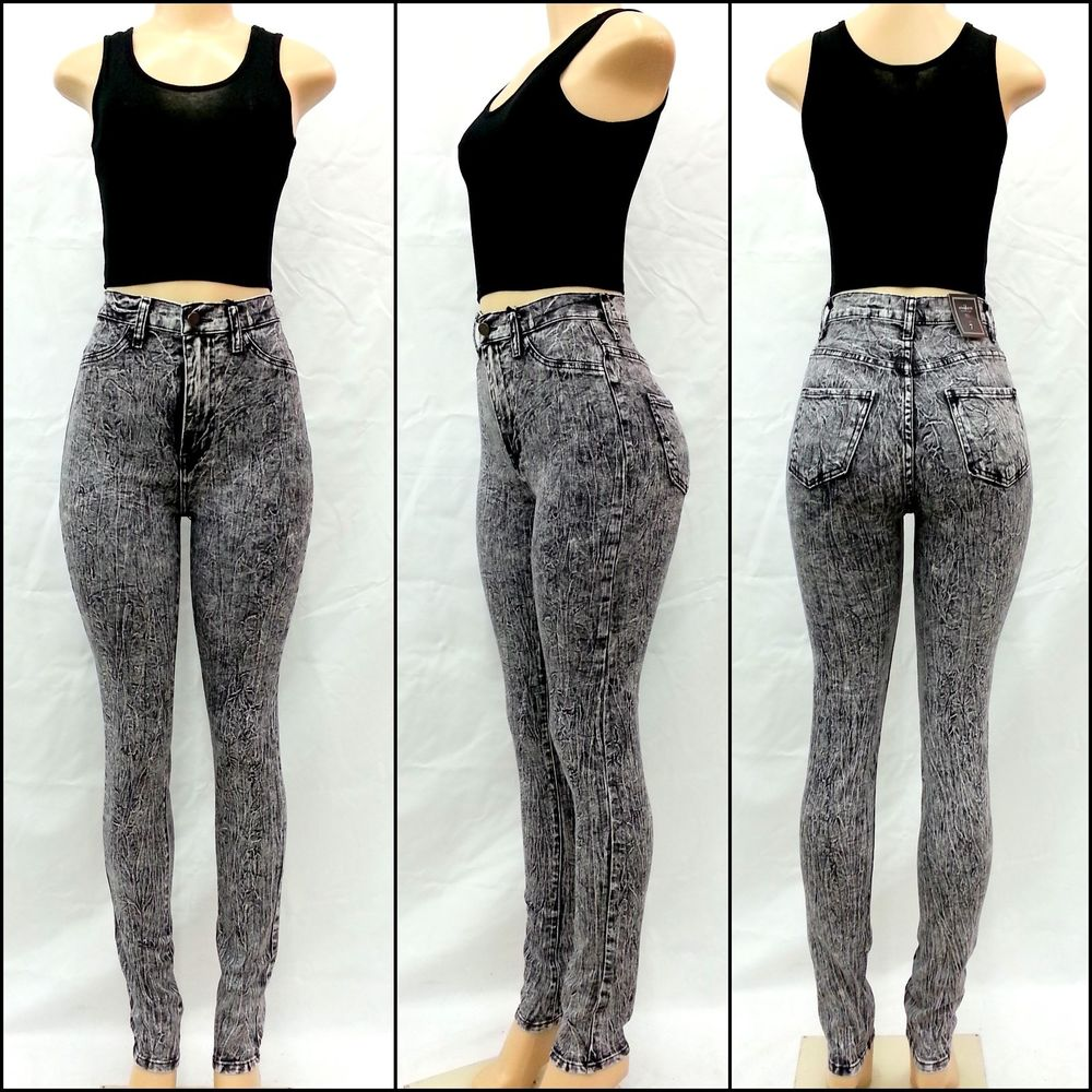 High Waisted Gray Jeans