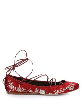 embroidered pumps satin red shoes
