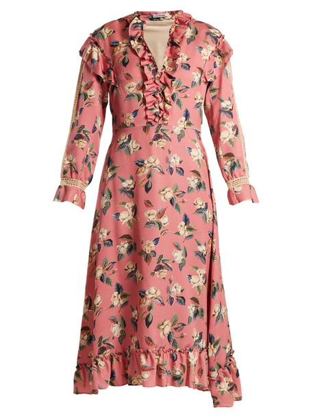 dress floral print silk wool pink