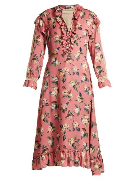 Vilshenko dress floral print silk wool pink