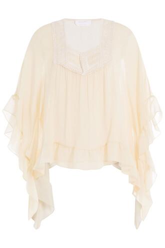 blouse chiffon blouse chiffon silk beige top