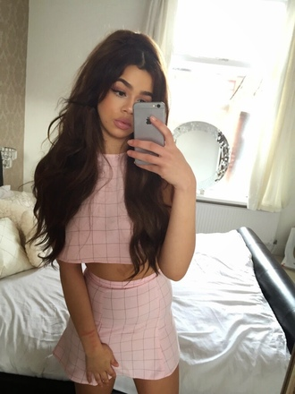 skirt pink top fashion tumblr tumblr outfit outfit cute girly tumblr clothes crop crop tops style trendy