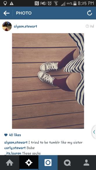socks knee high socks maroon/burgundy