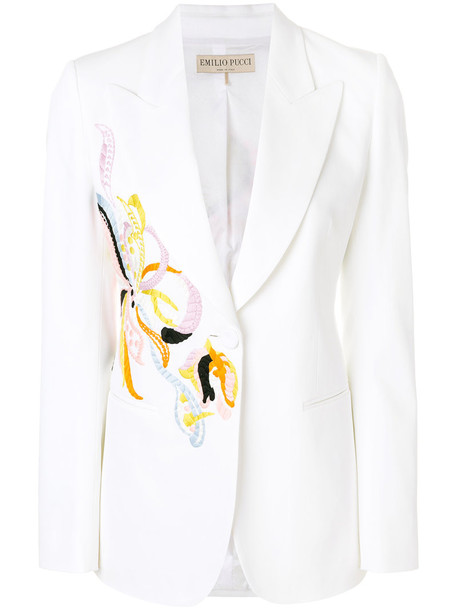 Emilio Pucci blazer embroidered women spandex white cotton jacket