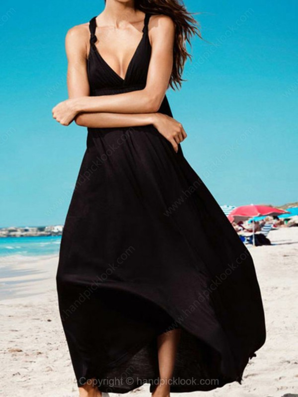 beach dress black dress black summer dress beachwear handpicklook.com chiffon dress
