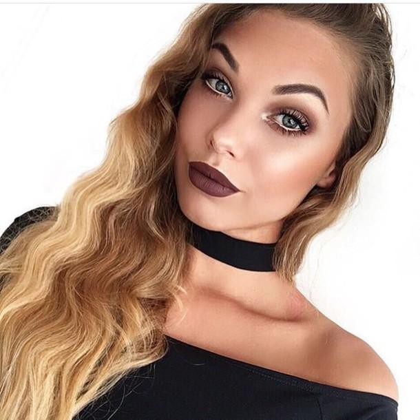 Make-up: tumblr, fall makeup look, dark lipstick, lipstick ...