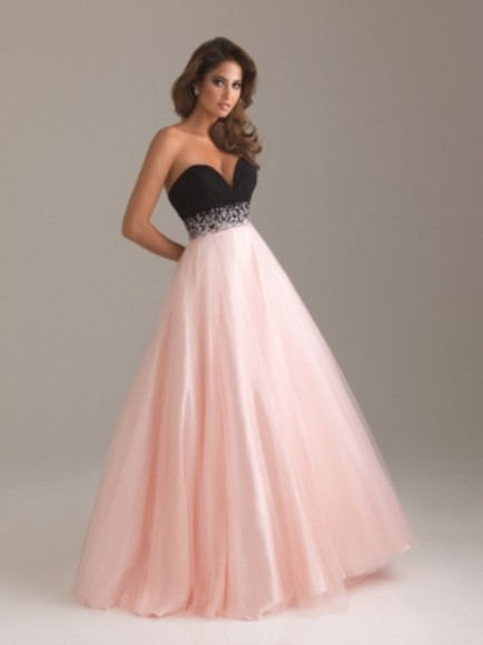prom dress light pink dress pink dress pink prom black diamonds sweetheart floor-length gown