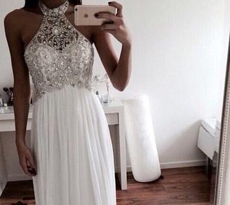 dress white dress prom dress beautiful dresses sexy dress white prom dress halter dress