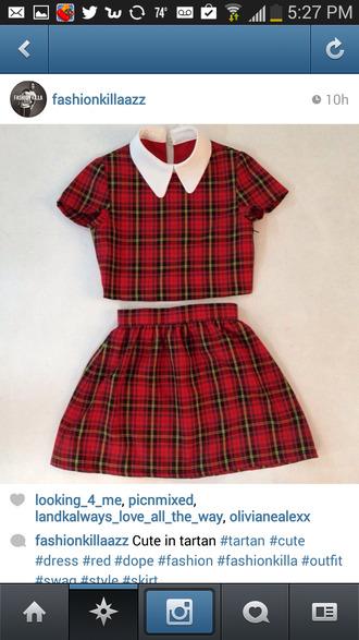 shirt tartan skirt
