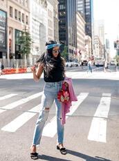 jeans,tumblr,denim,blue jeans,top,black top,sandals,mules,bandana,hair accessory,shoes
