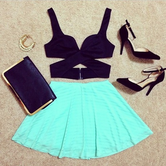 skirt circle skirt skater skirt mint tank top jewels t-shirt shirt shoes bag, jewels black girly outfits sexy, summer black top, nice, girl, iwantit top green high heels cute skirts straps