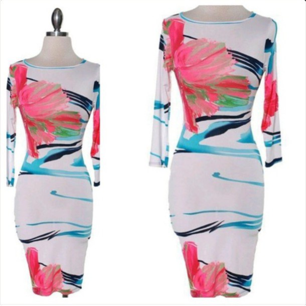 dress color painted dress bodycon dress