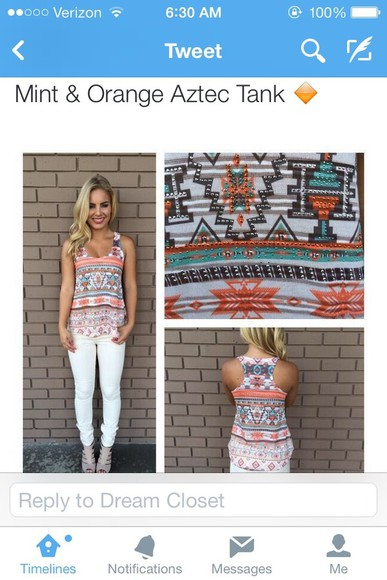 tank top shirt aztec pattern spring