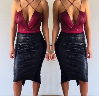 top bodysuit burgundy