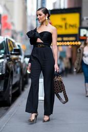 jumpsuit,pants,black,olivia culpo,fashion week,ny fashion week 2018