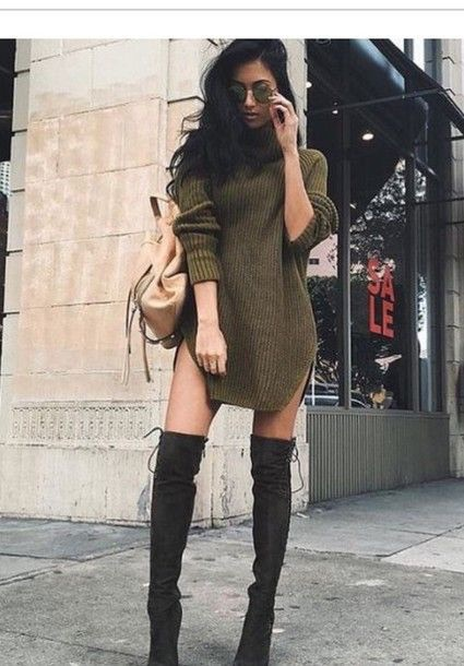 sweater olive green oversized knitted sweater