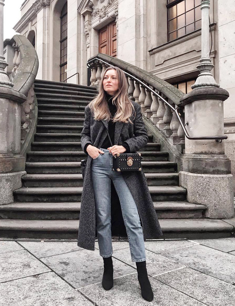 coat tumblr grey coat grey long coat long coat denim jeans blue jeans boots black boots