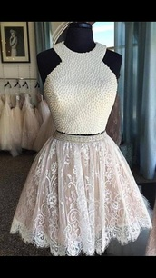 dress,2016 homecoming dress,white homecoming dress,short homecoming dress,party dress,homecoming dress,white dress,pearl top,lace skirt,short,beaded,white lace dress,2016 homecoming dresss,homecoming dresses 2016,short party dresses,2016 short cocktail dresses
