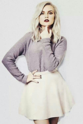 skirt skater skirt girly perrie edwards little mix sweater shirt grey fluffy cool 90s style goth pastel goth sweet grunge boots nail polish perrie cute floral grey sweater pink skirt celebrity cardigan