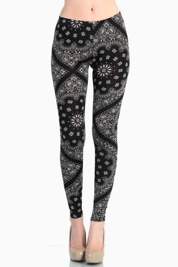 Bandana Pattern Leggings - Black