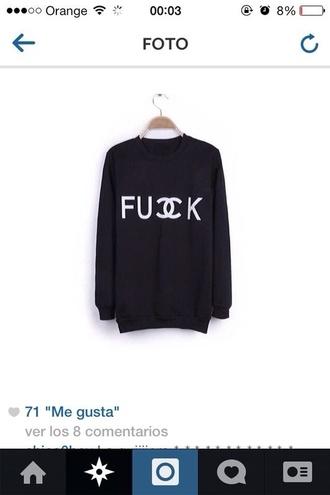 sweater black sweater fuck chanel black sweater