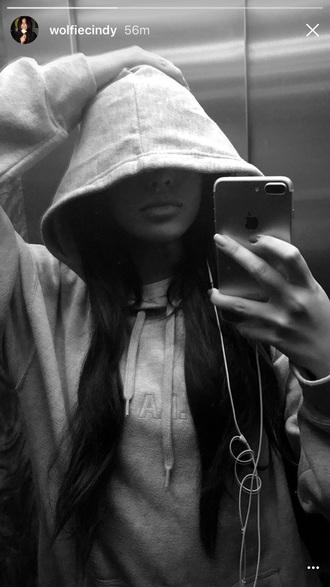 sweater hoodie wolfiecindy cindy kimberly grey instagram instagram baddie