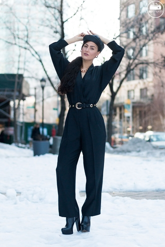do the hotpants blogger black jumpsuit leather belt leather cap boots