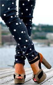 shoes,polka dots,denim,pants,jeans,sandals,brown high heels,polka dot jean