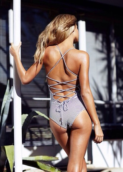 open back swimwear one piece swimsuit swim bathing suit stripes criss cross back black white stripe swimsuit, striped swimsuit bathing suit cute