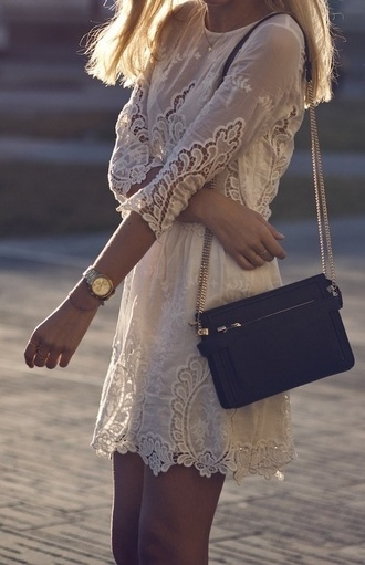 bag purse clothes dress white dress embroidered lace tan beige cream cute white skirt summer whitesummer white lace dress celebrity blonde hair back to school pinterest pretty boho