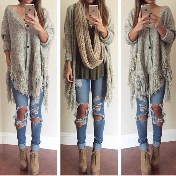 cardigan jeans shirt fashion pullover hippie fall outfits outfit shoes sweater cute scarf girl style t-shirt gloves wedges tan shoes blouse blue jeans boho casual ripped jeans lightwash ripped jeans ripped ripped tumblr indie white jumper