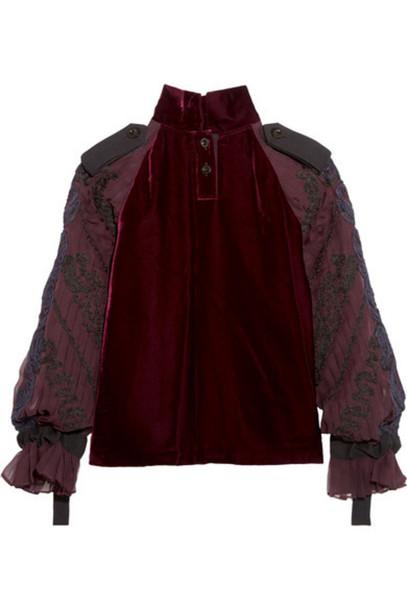 Sacai - Velvet And Embroidered Chiffon Top - Burgundy