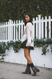 honey n silk,blogger,oversized sweater,knitted sweater,fall sweater,mini skirt,ankle boots,white oversized sweater,mini skirt and ankle boots,white cable knit sweater,cable knit,black skirt,black bag,ysl,ysl bag