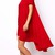 Red High Low Hem Women Short Sleeve Dress