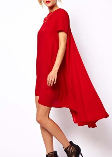 Red High Low Hem Women Short Sleeve Dress