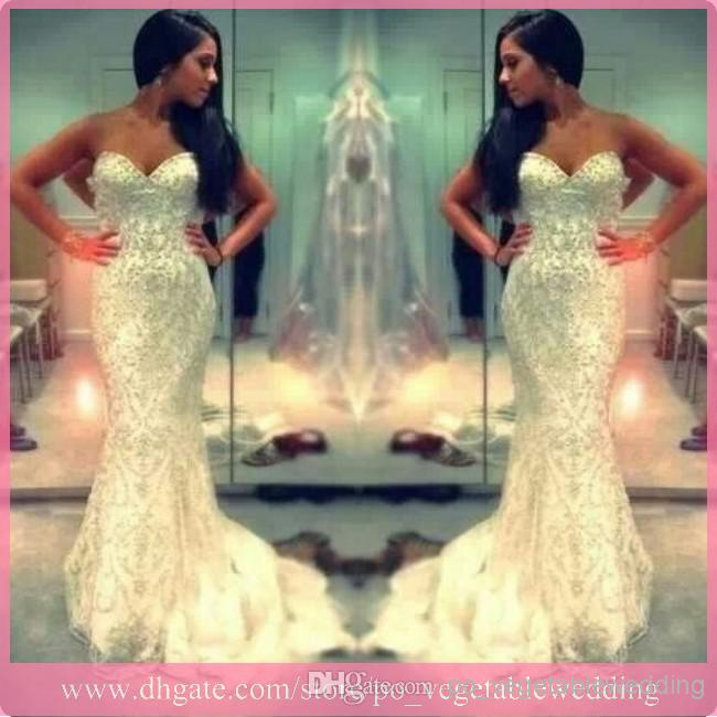 Cheap Evening Gowns - Discount 2014 Sweetheart Mermaid White Beaded Crystal Zipper Evening Online with $209.87/Piece | DHgate