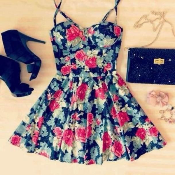 dress floral cute dress summer dress black high heels clutch floral dress flowers