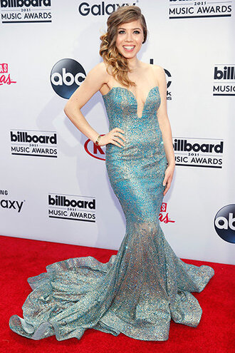 dress gown billboard music awards prom dress strapless bustier dress mermaid jenette mccurdy