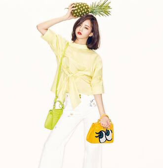 bag eyes cartoon yellow handbag