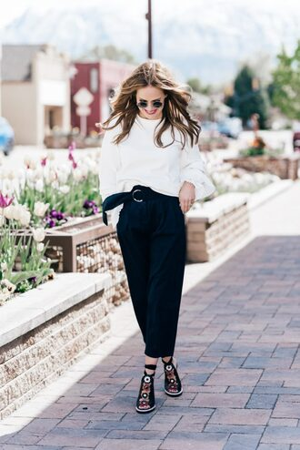 shoes tumblr high heels heels top white top pants black culottes culottes cropped pants