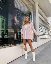 jacket,blazer,pink blazer,white boots,white dress,belted dress,shoulder bag,mini dress